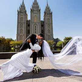 Swept Away by David Terry - Wedding Bride & Groom ( temple, love, wind, wedding, romantic, veil, bride and groom, salt lake temple, romance )