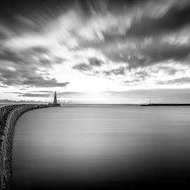 Morning Light by Neil Nicklin - Landscapes Waterscapes ( roker pier, waterscape, roker lighthouse, sunderland, mono, roker )
