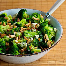Barely-Blanched Broccoli Salad with Feta and Fried Almonds