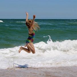 Beach Time by Christina Davis - Sports & Fitness Swimming ( girl, children, beach )