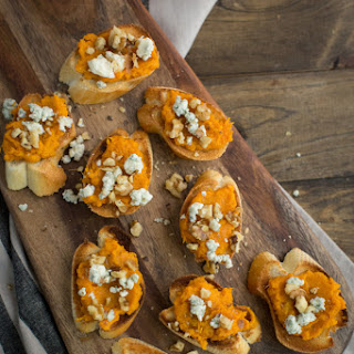 Sweet Potato Crostini with Walnuts and Blue Cheese