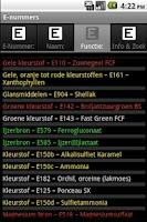 Screenshot of E-nummers