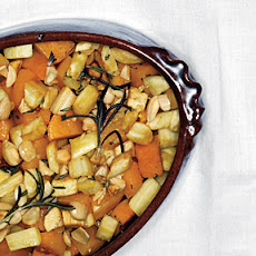 Roasted Winter Squash and Parsnips with Maple Syrup Glaze and Marcona Almonds