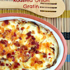 Roasted Onion Gratin w/ Cheddar & Bacon
