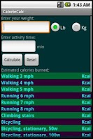 Screenshot of CalorieCalc