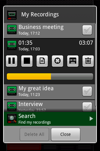 recordoid-dictaphone-lite for android screenshot