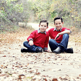Brothers by Amber Williams - Babies & Children Children Candids ( red, fall, boys, children, brothers,  )