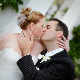 Forever in Love by Alan Evans - Wedding Bride & Groom ( wedding ring, wedding photography, wedding day, wedding, aj photography, bride and groom, bride and groom kiss, wedding kiss, , improving mood, moods, red, love, the mood factory, inspirational, passion, passionate, enthusiasm )