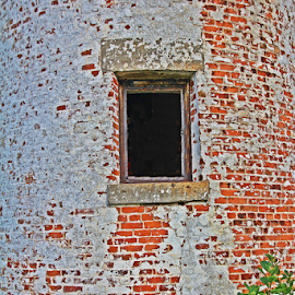 Long Ago by Kevin Callahan - Buildings & Architecture Architectural Detail ( masonry, window, brick, light house, white )