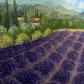 Provence Lavender Fields by Amas Art - Painting All Painting