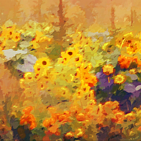 Autumn Flower Field by Darlene Lankford Honeycutt - Painting All Painting ( autumn, deez, impressionistic, dl honeycutt, traditional art, flowers, painting,  )