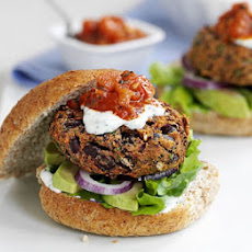 Mexican Bean Burgers With Lime Yogurt & Salsa