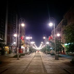 SIenkiewicza by Jakub Juszyński - City,  Street & Park  Street Scenes ( lights, street, night, kielce, sienkiewicza, evening, walk, poland )