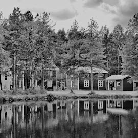Summerday by Ewa Nilsson - Buildings & Architecture Homes ( reflection houses trees water lapland sweden )