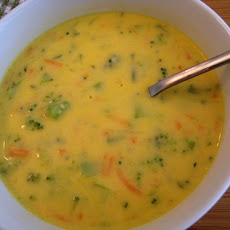 Cheddar Cheese Soup with Zucchini, Broccoli, and Carrots