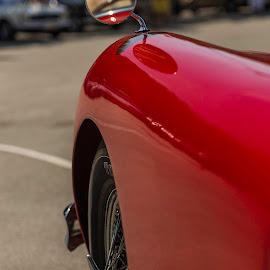 Yesteryear's Jag. by Liam Coburn Dunne - Transportation Automobiles ( mirror, jaguar, nikon 24-70, flaming red, red, old car, front wheel, nikon d800, sleek )