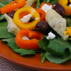 Arugula Salad Recipe with Marinated Artichokes, Peppers, Goat Cheese and More