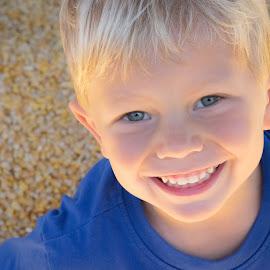 Corn Play by Dory Formiller - Babies & Children Child Portraits ( blonde, blue eyes, smile, teeth, boy, corn,  )