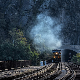 CSX coming at you by Izzy Kapetanovic - Transportation Trains ( mountain, harper's ferry, train, transportation, tracks, tunnel, steam )
