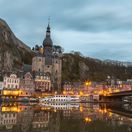 Dinant by Stephen Bridger - City,  Street & Park  Vistas ( europe, church, dinant, belgium, travel, evening, travel photography )