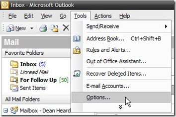 Outlook Options Menu Item