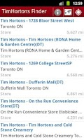 Screenshot of Tim Hortons Finder