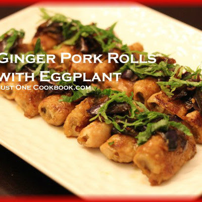 Ginger Pork Rolls with Eggplant