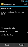 Screenshot of FastNotes Sticky Note Widget