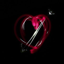 Light Hearted by Nancy Young - Abstract Light Painting ( heart, light painting, flashlight, night, light )