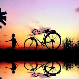 anak pak jambul dolanan neng sawah by Indra Prihantoro - Transportation Bicycles ( sunset, bicycle )
