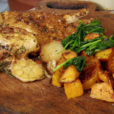 Nutmeg Roast Chicken With Squash And Spinach