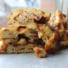 Bacon-Banana Waffle Sandwich with Peanut Butter and Maple Syrup
