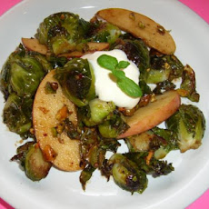 Roasted Brussels Sprouts With Apple, Creme Fraiche & P