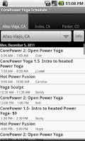 Screenshot of CorePower Yoga Class Schedule