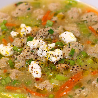 Meatball Soup with Mixed Herbs and Goat Cheese