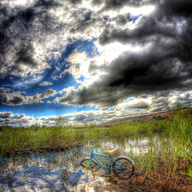Blue Bike in the Clouds by Eric Demattos - Transportation Bicycles ( water, reflection, sky, blue bike, antique, bicycle )