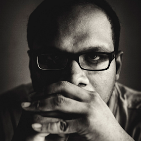 Self Portrait by Rahat Amin - People Portraits of Men ( selfie, black and white, dark, self portrait, portrait, Selfie, self shot )