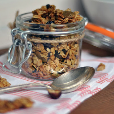 Maple-Olive Oil Granola with Cocoa Nibs, Hazelnuts and Cherries