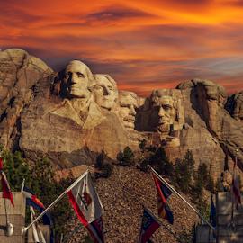 Mount Rushmore by Josh Rud - Landscapes Mountains & Hills ( clouds, mountains, sky, mount rushmore, park, sunset, south dakota, monument )