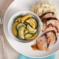 Grilled Pork Tenderloin with Squash Medley