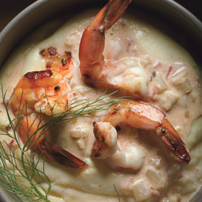 Shrimp Scampi with Quick Preserved Lemon and Fennel on Polenta