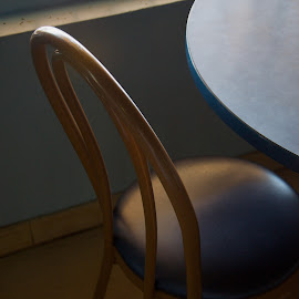 Waiting  by David Goss - Artistic Objects Furniture ( abstract, chair, line & curve, soft color, square, table, red hook )