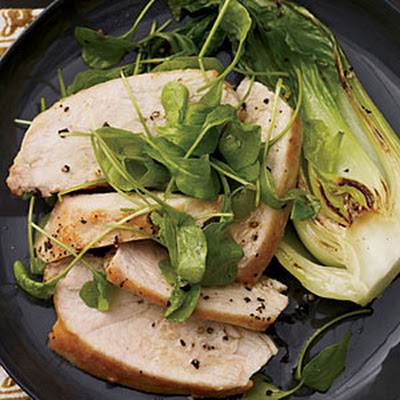 Mustard-Glazed Chicken with Arugula and Bok Choy