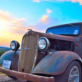 Photo Op by Kevin Dietze - Transportation Automobiles ( cruise night, pit stop, sunset, hot rod tour, evening clouds )