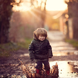 Puddle Jump by Claire Conybeare - Chinchilla Photography - Babies & Children Toddlers ( uk, england, chinchilla photography, splash, little boy, outdoors, dunstable, fun, puddle, cute, toddler, jump )