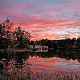 As the sun sets slowly by Lowell Griffith - Landscapes Sunsets & Sunrises ( reflection, autumn, sunset, lake )
