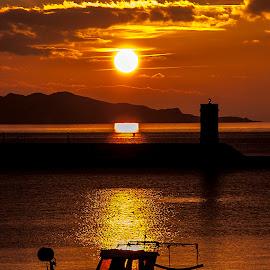 gold sunset by Lucijan Španić - Landscapes Sunsets & Sunrises ( sunsets, sunset, boats, sea, seascape, boat, sun )