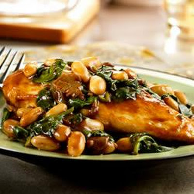 Balsamic Chicken with White Beans and Spinach