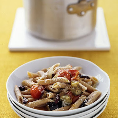 Whole Wheat Pasta with Roasted Eggplant and Tomatoes