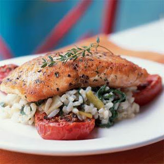 Crispy Salmon with Risotto and Slow-Roasted Tomatoes